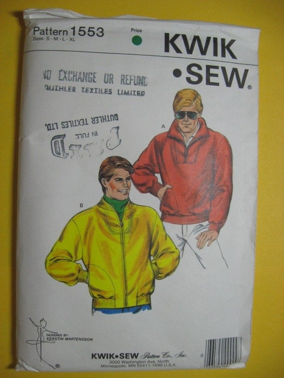 Mens Bomber Jacket Pattern KwikSew 1553 Fleece Pullover all