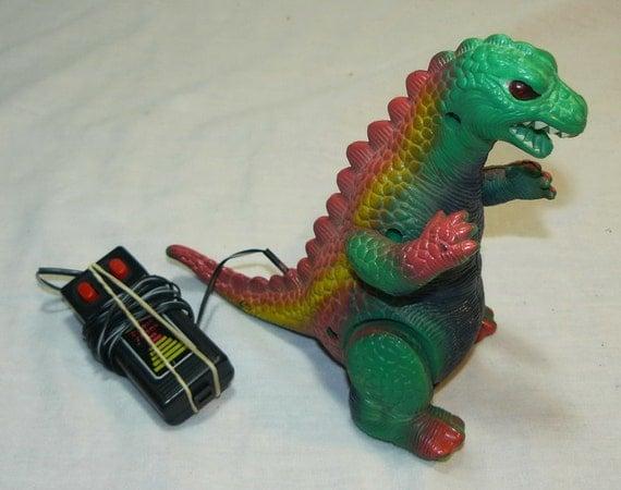 Vintage Godzilla Battey Operated Toy from Radio Shack - Walking - Eyes Light Up Monster