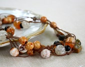 Hand Knotted Necklace - Long - Brown - Corded Necklace - Beadwork