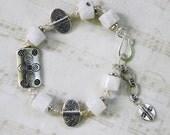 White Bracelet - Silver Bracelet - Bracelet Silver - Moonstone
