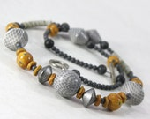 Mustard Necklace - Grey Necklace Yellow