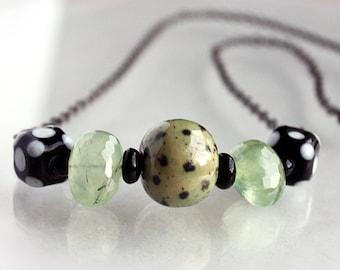 Green Necklace, Black Necklace, Kazuri, Lampwork, Prehnite, Simple, Beadwork, Beaded, Single Strand