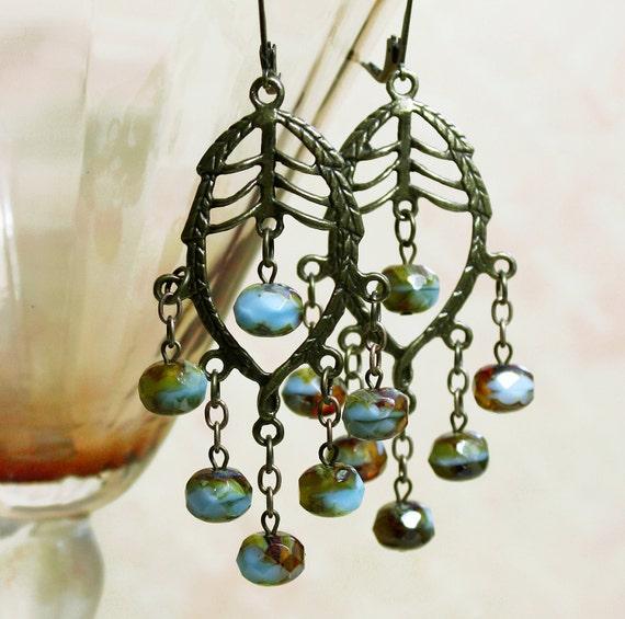 Boho Earrings, Chandelier Earrings,  Blue Chandelier, Beaded, Beadwork