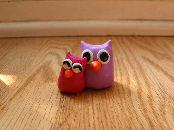 Polymer Clay Owl Mommy and Baby Girl Pink Owl Miniatures Figures Free Shipping