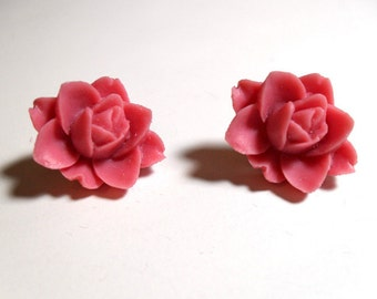 Pink Salmon Flower Post Earrings
