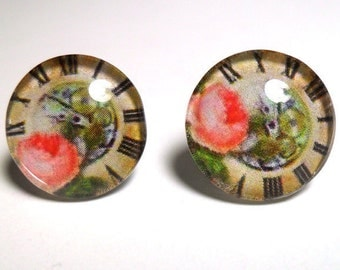 Victorian Glass Post Earrings - Glass Cabochons - A Clock with A Peach Rose Image with Comforting Earnuts for Support