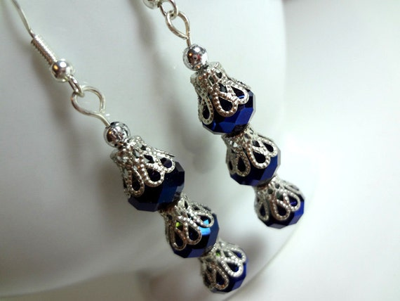 Dangling Dark Blue Earrings - Sparkling Crystal with Silver Filigree Caps on Hooks or Clip Ons