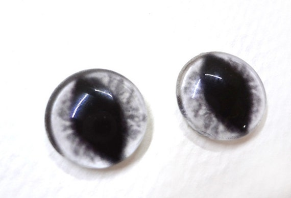 16mm White Glass Dragon Eye Cabochons - Evil Eyes for Doll or Jewelry Making - Set of 2