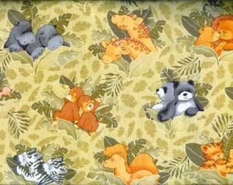 2 x x 2 Animals Quilting Fabric  1 1/2 Yards