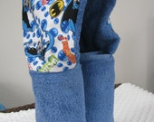 Hooded Towel made with Batman fabric - Flannel fabric on a standard 30 x 54 bath towel