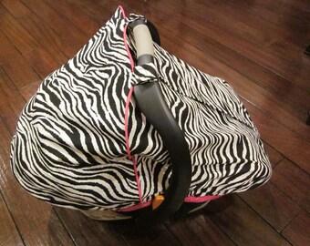 Car Seat Canopy - Zebra Fitted Car Seat Canopy