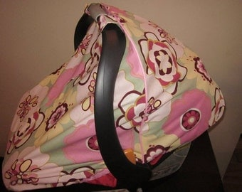 Fitted Car Seat Canopy/Cover - Pink and Green - Kleo fabric