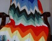 Multi-colored Ripple Afghan