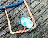 Blue Dots & Curves Necklace