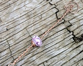 Fairy Bubble Wand - Copper with Lavender Swirled Glass Lampwork Bead - FREE SHIPPING