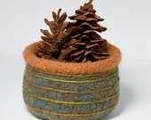Felted Bowl - Green Stripes