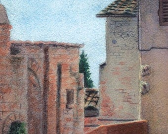 Tuscan Patio - Original Watercolor Painting