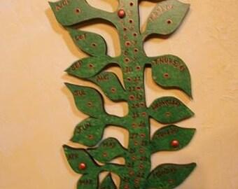 Green Copper Vine and Leaf Perpetual Calendar