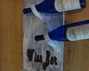 Wine Rack Stemware Rack Unique Wine Storage Bar Sign in Distressed White