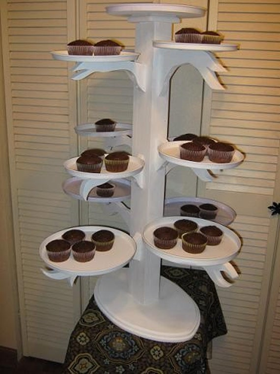 SALE Large white wedding cupcake tree stand server holds 150