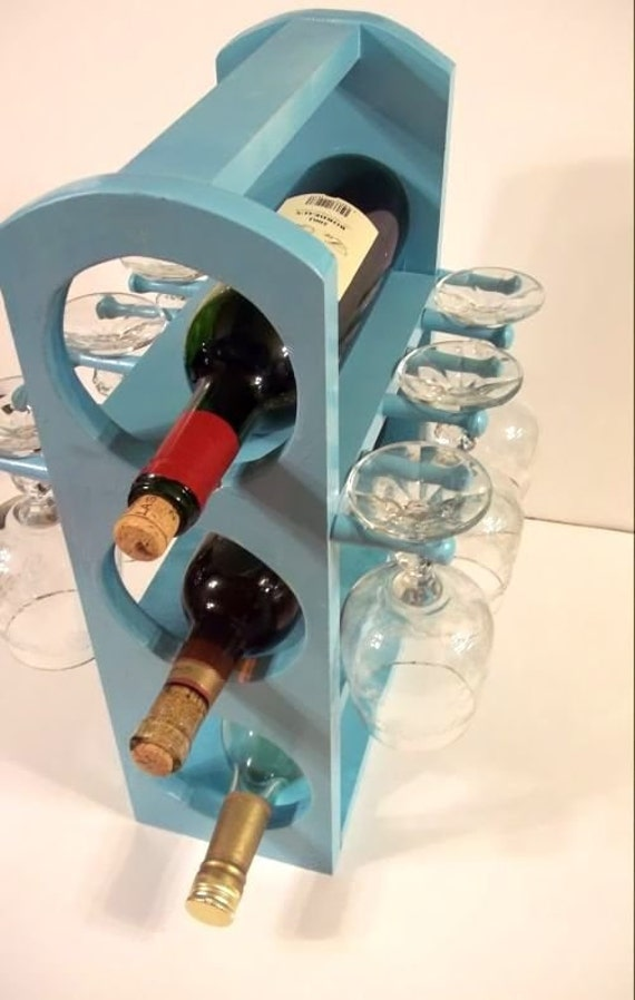 Unique wine rack stemware rack in Light Turquoise is Handmade