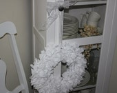 White or Gray Fabric Wreath