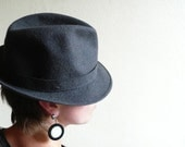 Vintage hat, trilby , Fedora, grey, hat band,  france, father's day gift,  french cascette, french vintage accessories by ancienesthetique