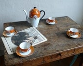 antique cups and saucers, czechoslovakia victoria china, antique fine china, orange, coffee, tea,  floral, french vintage finds