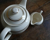 French vintage teapot and creamer, villeroy and boch, white and gold, coffee, house accessories by ancienesthetique