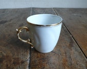 Vintage espresso cup, coffee , tea,  gold, white, French vintage housewares by ancienesthetique on etsy