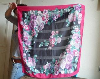 Pink Flower Scarf, Paris designer accessory, Bright Pink Scarf, Retro sixties scarf, Pink Accessory, Floral scarf,  Retro Fashion Gift