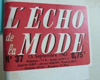 French Vintage magazine, autumn, advertisements, paper ephemera,sixties, 1961,  fashion, knitting, sewing, French vintage