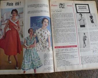 French Vintage magazine, mid century, advertisements, paper ephemera, fifties,  fashion, knitting, sewing, mixed media art