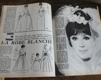 French Vintage magazine, advertisements, paper ephemera,sixties, 1963,  fashion, knitting, sewing, French vintage