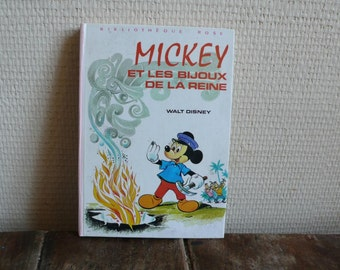 Mickey Mouse French Book, The Queen's Jewels, Retro 1974 Book, Children's Mystery, Vintage reading material, Disney Literature, Kid's gift