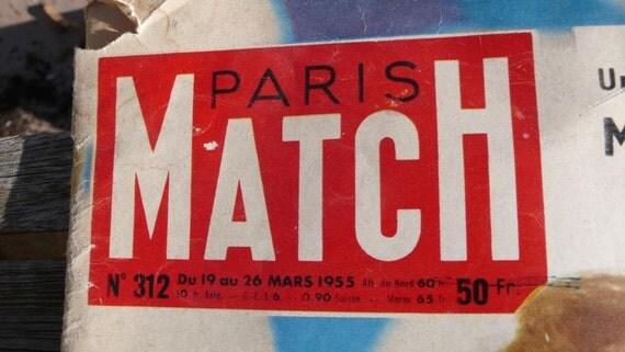 Vintage French magazine , mid century, mixed media art, celebrity, royalty, paris match, language,1955