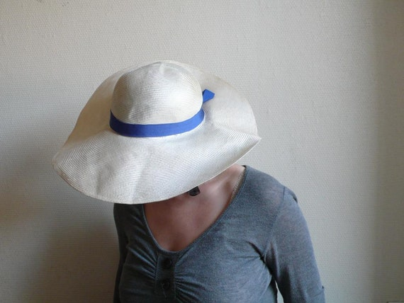 Vintage hat, wedding, summer, sunhat, holiday, large brim, blue bow,  cream and blue, paris, french vintage accessories by ancienesthetique