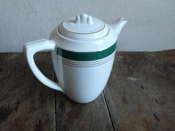 Antique coffee pot, white green teapot, White ceramic, antique coffeepot, hot chocolate, Digoin, sarreguemines, antique kitchen france