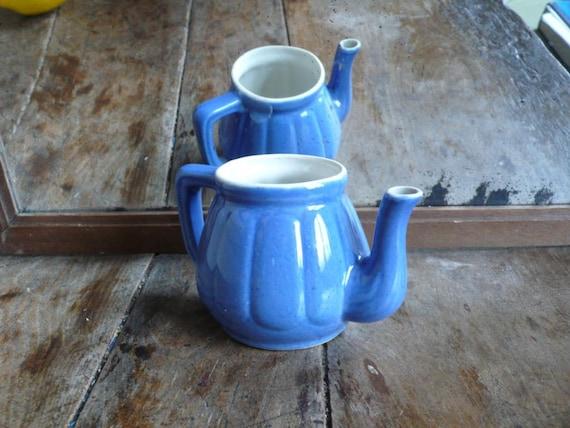 Mini Blue creamer jug, bright blue milk jug, French country kitchen, provincial france home, little blue creamer, french kitchen decor