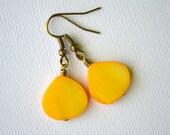 Yellow Mother of Pearl Teardrops . Earrings