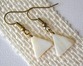 White Mother of Pearl Triangles . Earrings