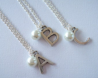 Clearance Sale . Initial . White Pearl . Personalized Charm . Necklace