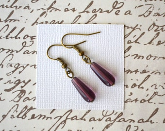 Amethyst Purple Teardrops . Earrings
