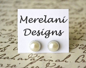 Ivory Pearl Cabochons . Studs . Earrings . Pearl Stud Collection