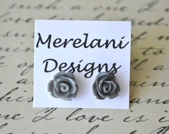 Grey Roses . Studs . Earrings . Rose Studs Collection