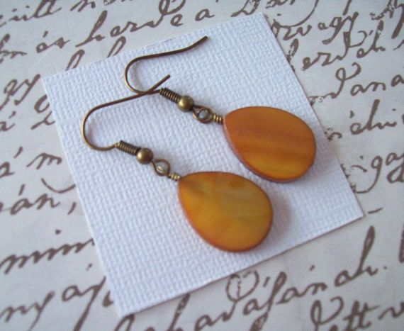 Imperfect Clearance Sale . Almond Mother of Pearl Teardrops . Earrings