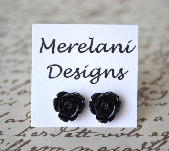 Black Roses . Studs . Rose Studs Collection