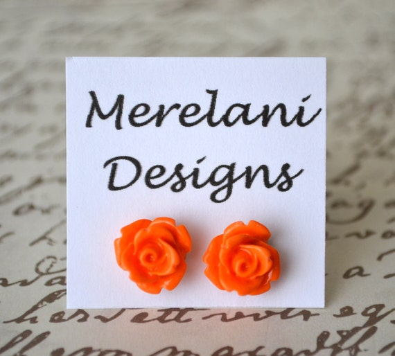 Orange Roses . Studs . Earrings . Rose Studs Collection