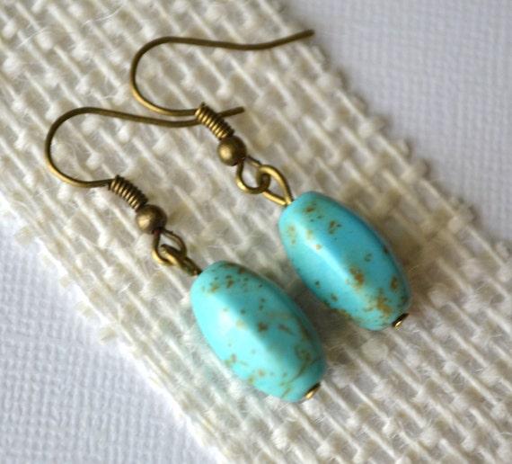 Magnesite Oval Gemstones . Earrings