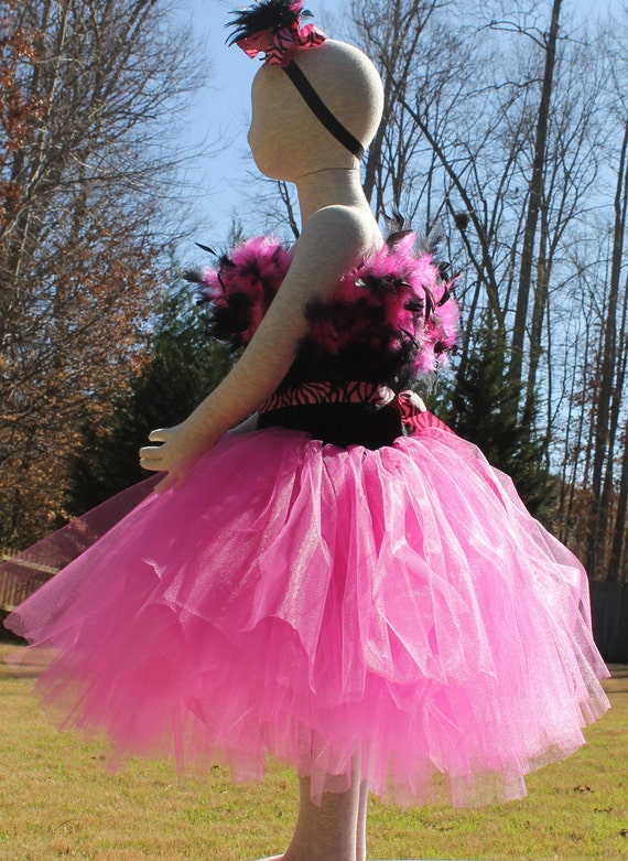 Clearance - Mardi Gras Tutu Dress Fits 18 months to 4T with Matching Feather Clip Elastic Headband